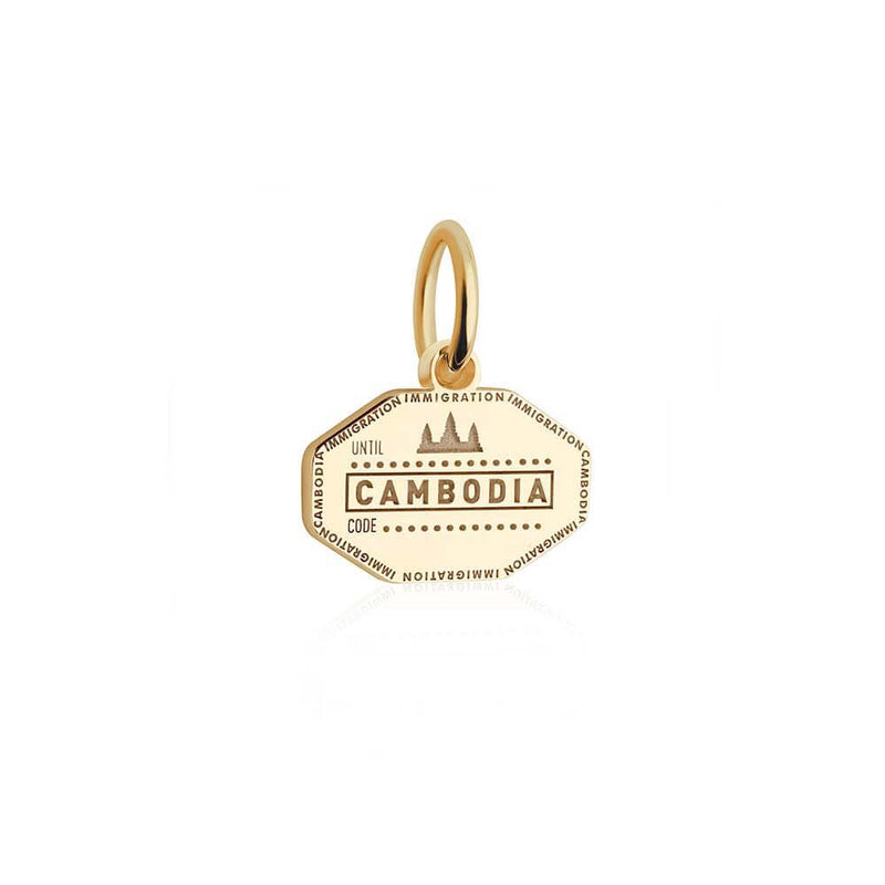 Mini Solid Gold Cambodia Passport Stamp Charm (SHIPS LATE JAN.)