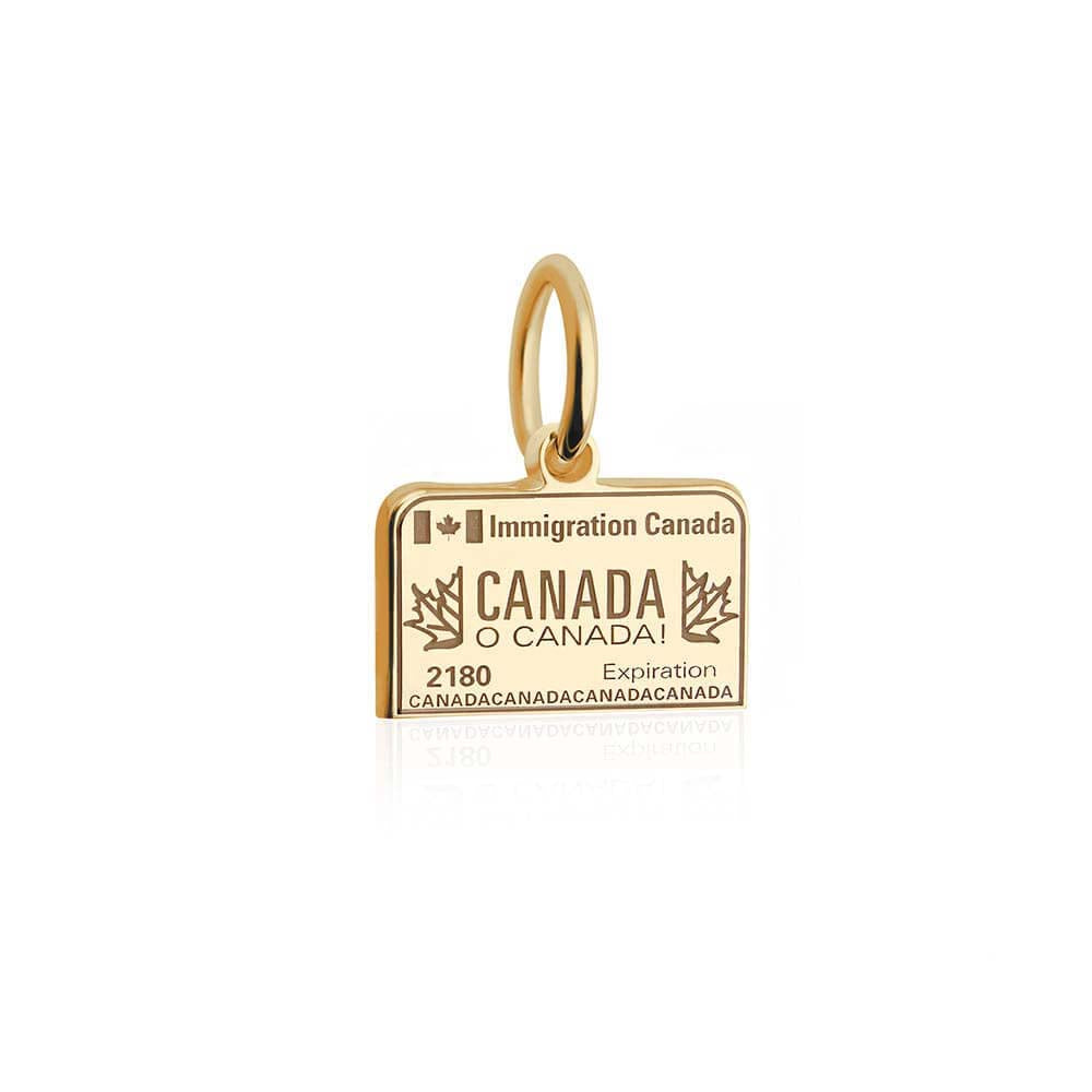 Mini Solid Gold Canada Charm, Passport Stamp