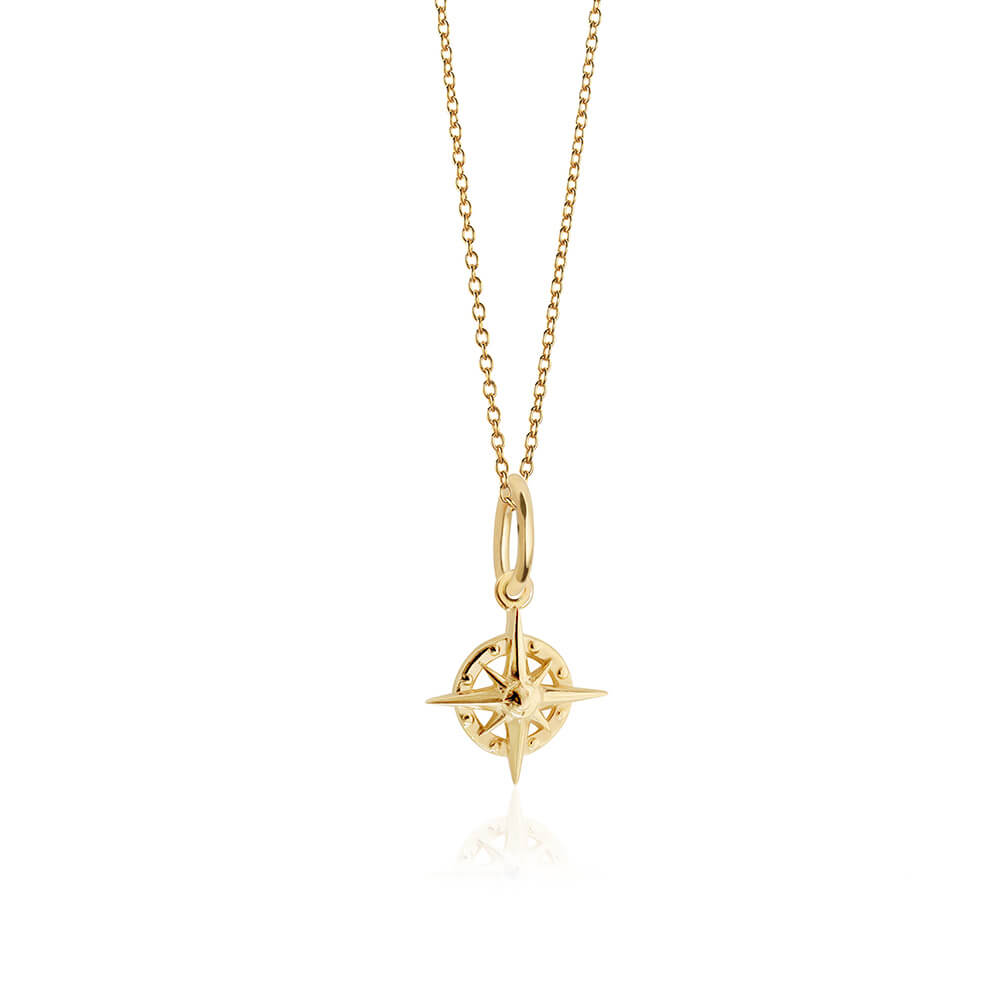 Solid Gold Mini Compass Charm