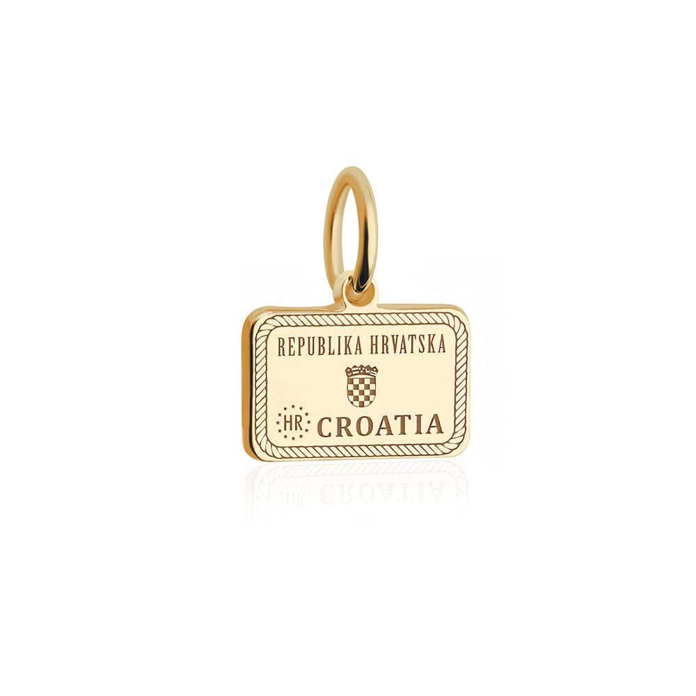 Mini Solid Gold Croatia Passport Stamp Charm