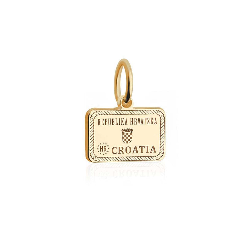 Mini Solid Gold Croatia Passport Stamp Charm (SHIPS EARLY DECEMBER)