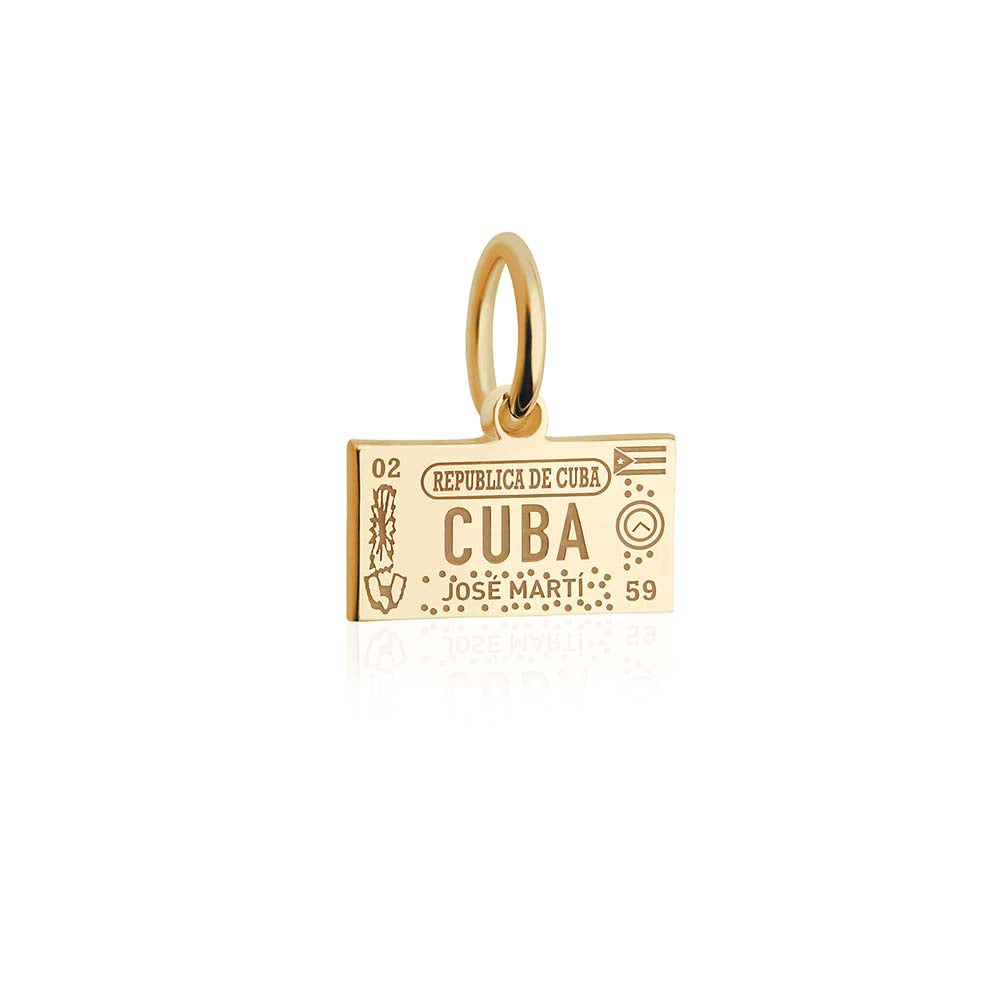 Mini Solid Gold Cuba Passport Stamp Charm