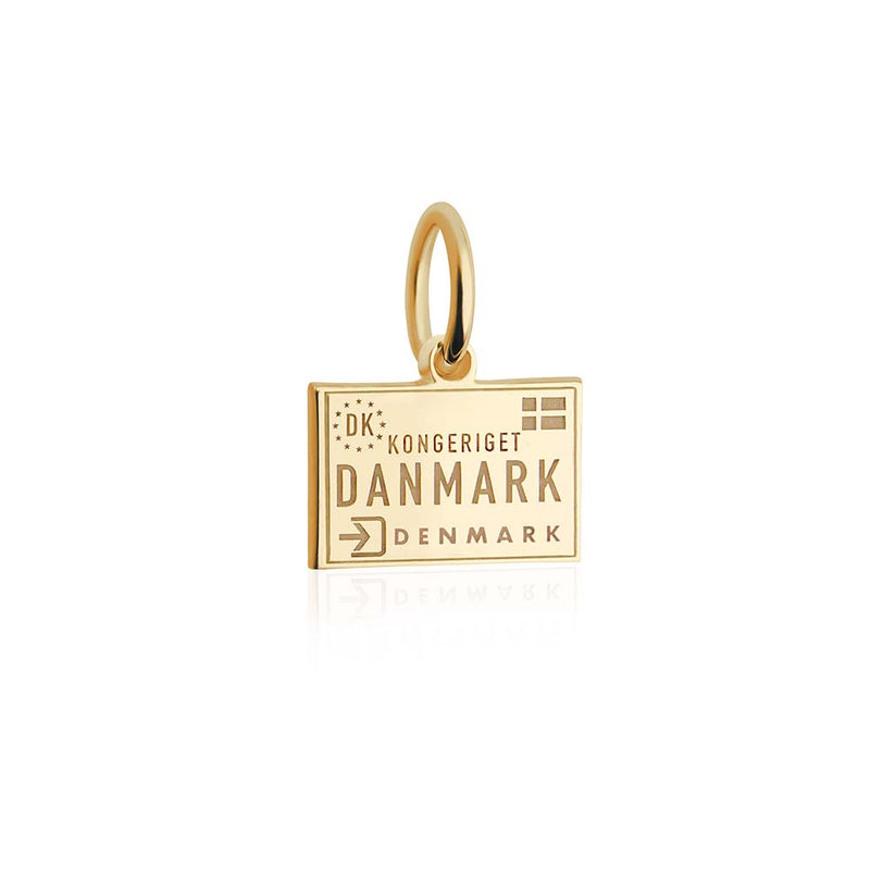 Mini Solid Gold Passport Stamp Charm: Denmark - JET SET CANDY