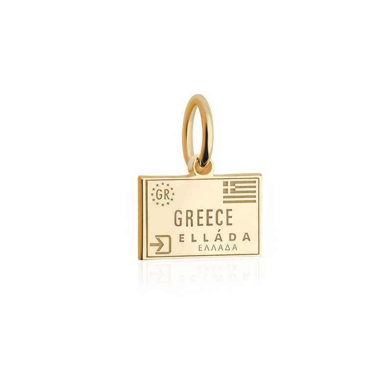 Mini Solid Gold Greece Passport Stamp Charm