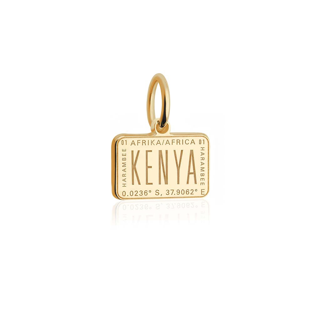 Mini Solid Gold Passport Stamp Charm: Kenya - JET SET CANDY