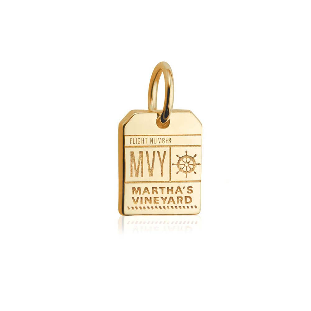 Mini solid gold Martha's Vineyard MVY Luggage Tag Charm - JET SET CANDY
