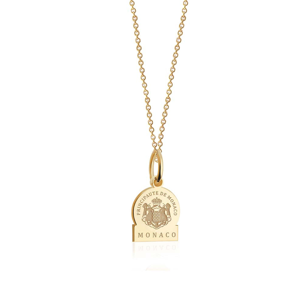 Mini Solid Gold Passport Stamp Charm: Monaco - JET SET CANDY