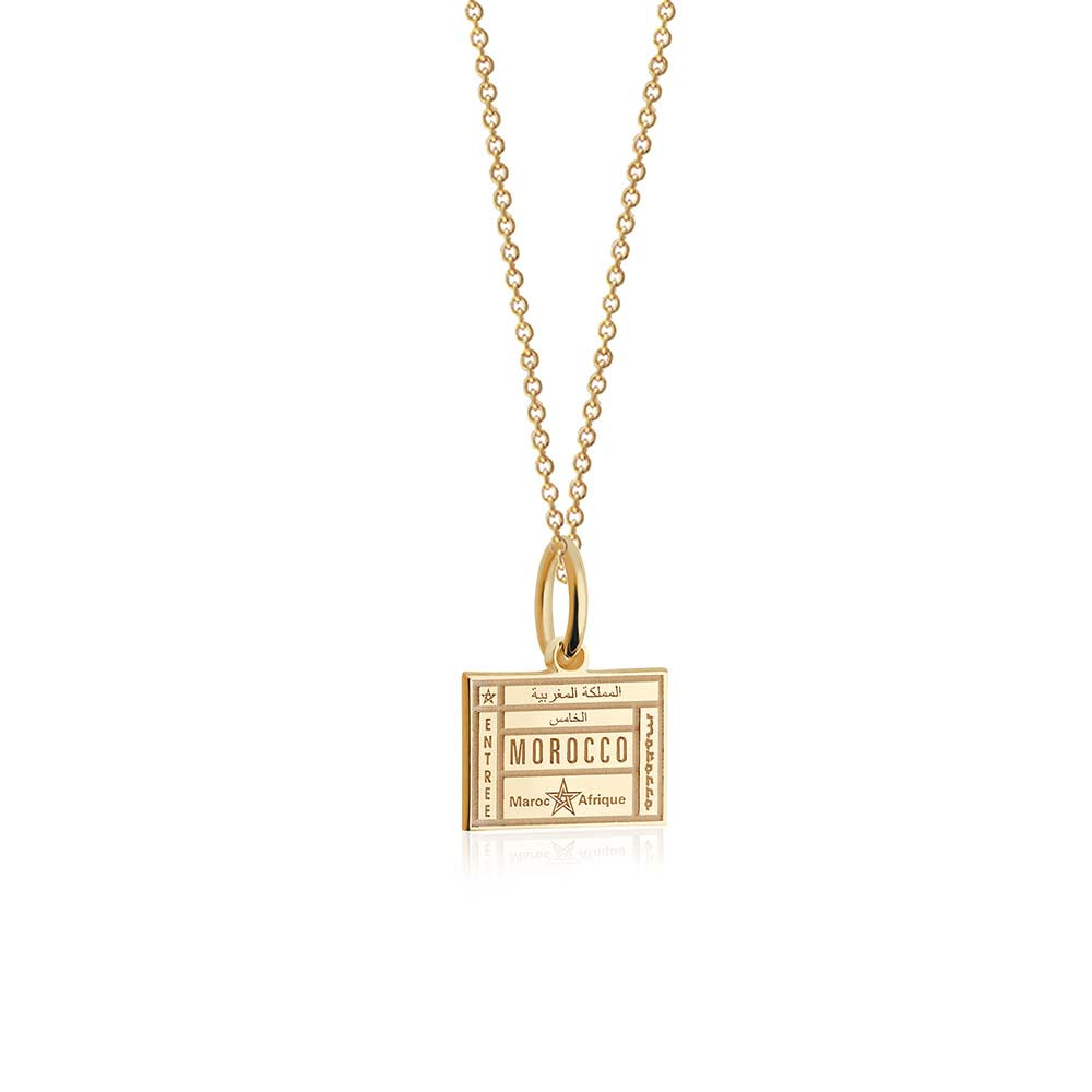 Mini Solid Gold Morocco Passport Stamp Charm