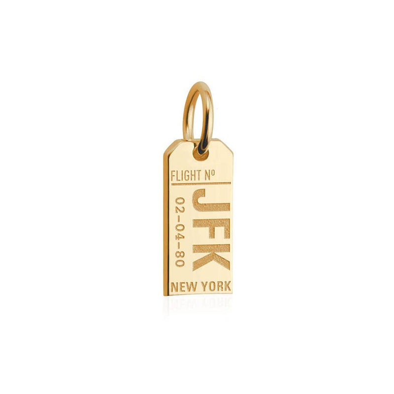 Solid Gold New York Mini Charm, JFK Luggage Tag - JET SET CANDY