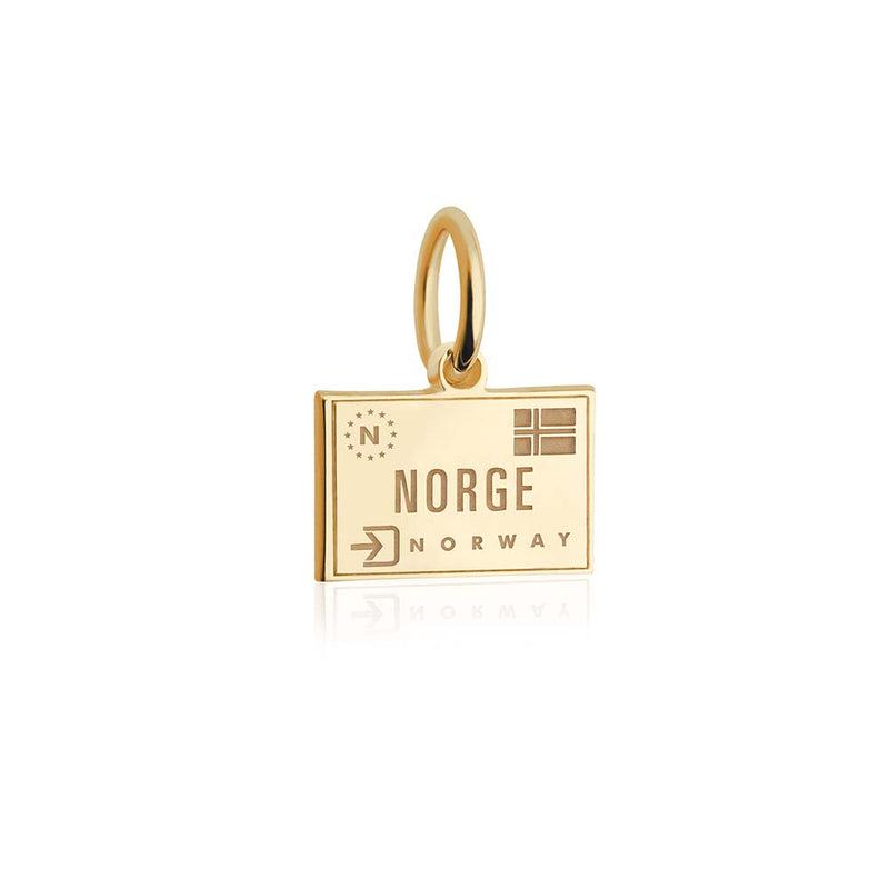 Mini Solid Gold Norway Passport Stamp Charm