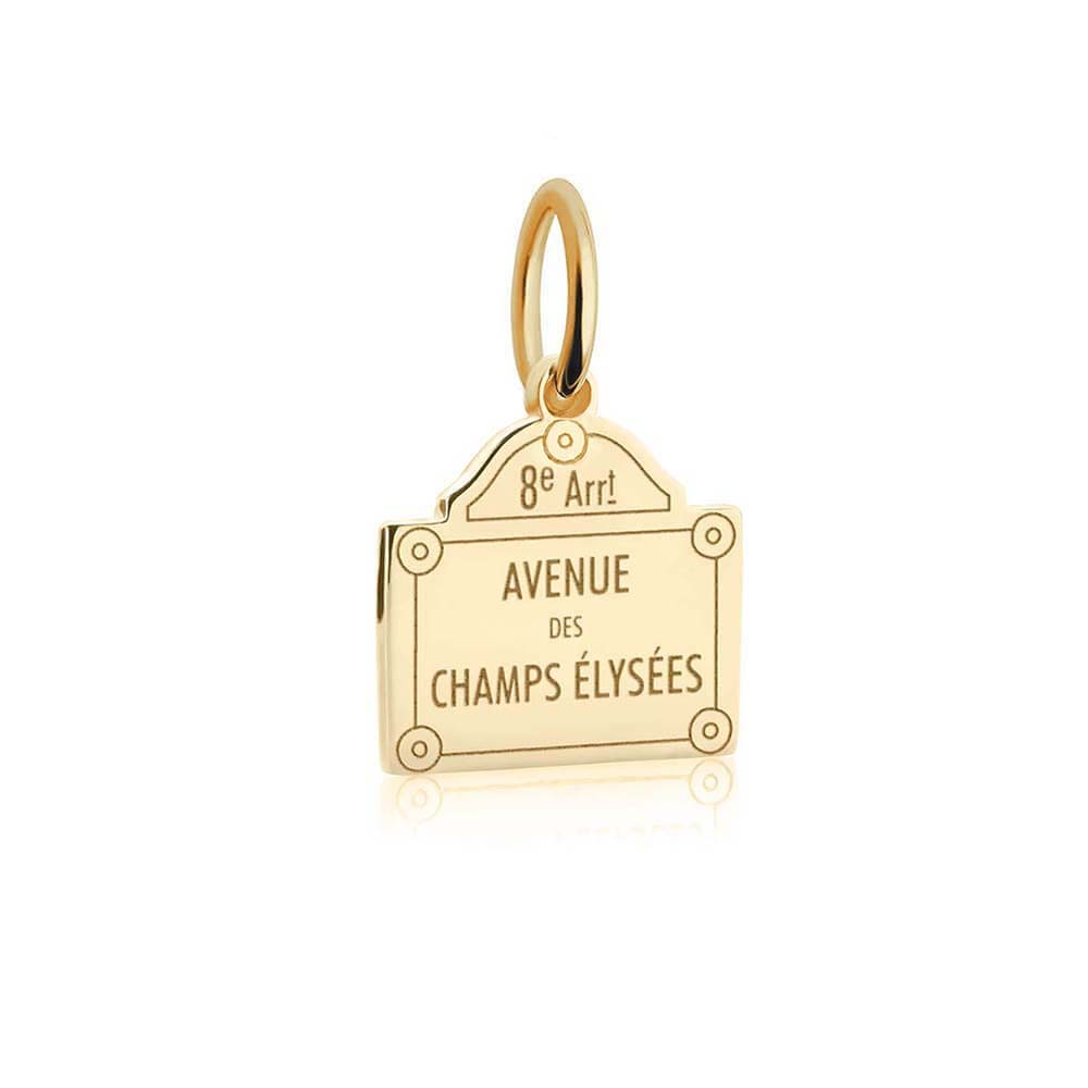 Solid Gold Mini Paris Charm, Champs-Elysees Sign (BACK-ORDER-SHIPS MARCH) - JET SET CANDY