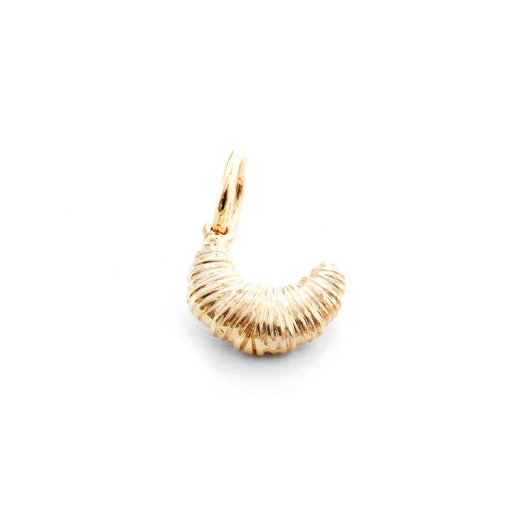 Solid Gold Mini Croissant Charm - JET SET CANDY
