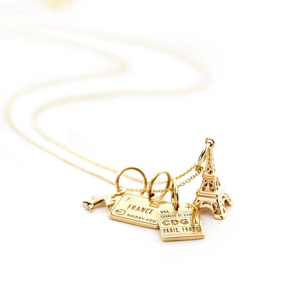 Solid Gold Mini Eiffel Tower Charm - JET SET CANDY