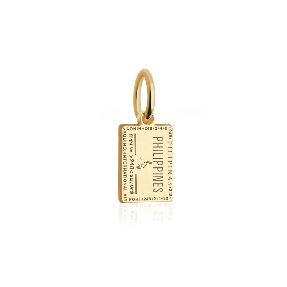 Mini Solid Gold Philippines Passport Stamp Charm