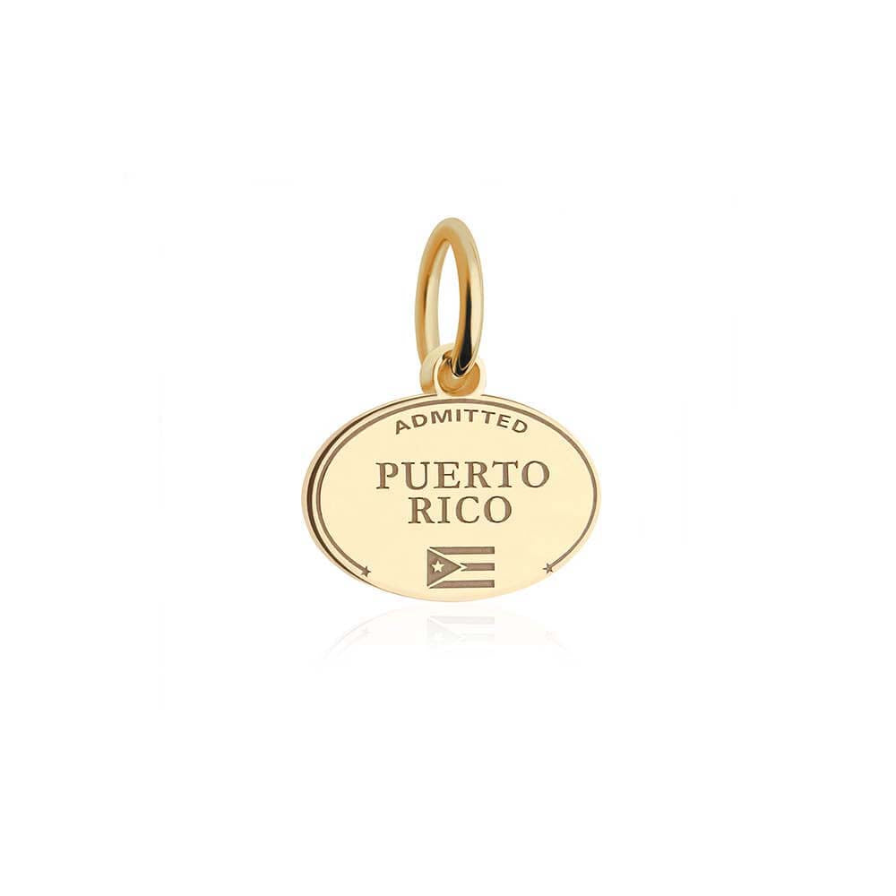 Mini Solid Gold Puerto Rico Passport Stamp Charm