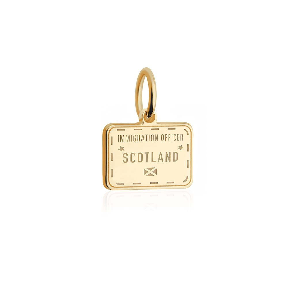 Solid Gold Mini Scotland Passport Stamp Charm