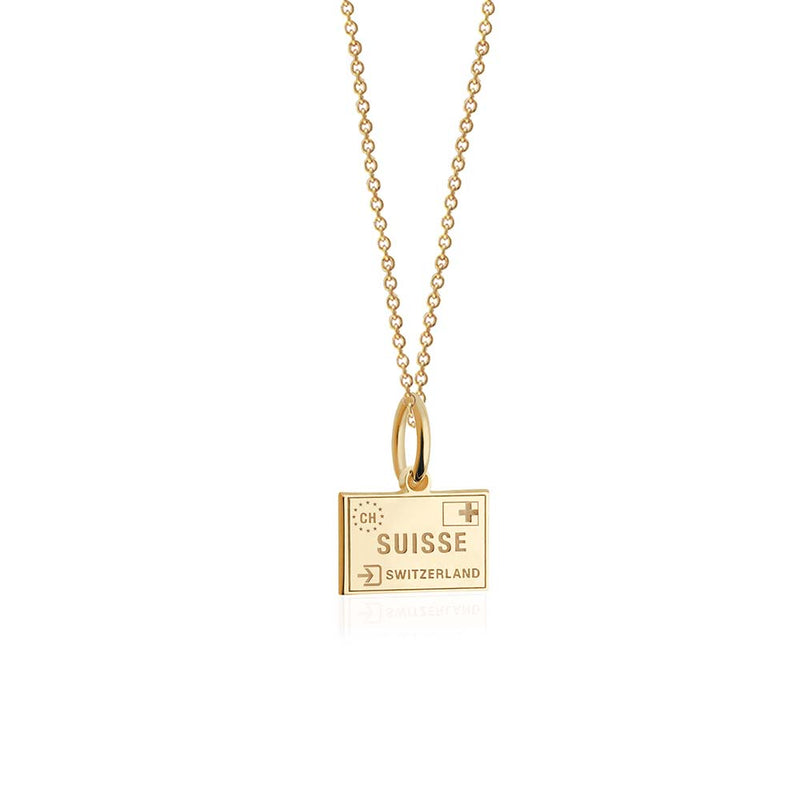 Mini Solid Gold Switzerland Passport Stamp Charm
