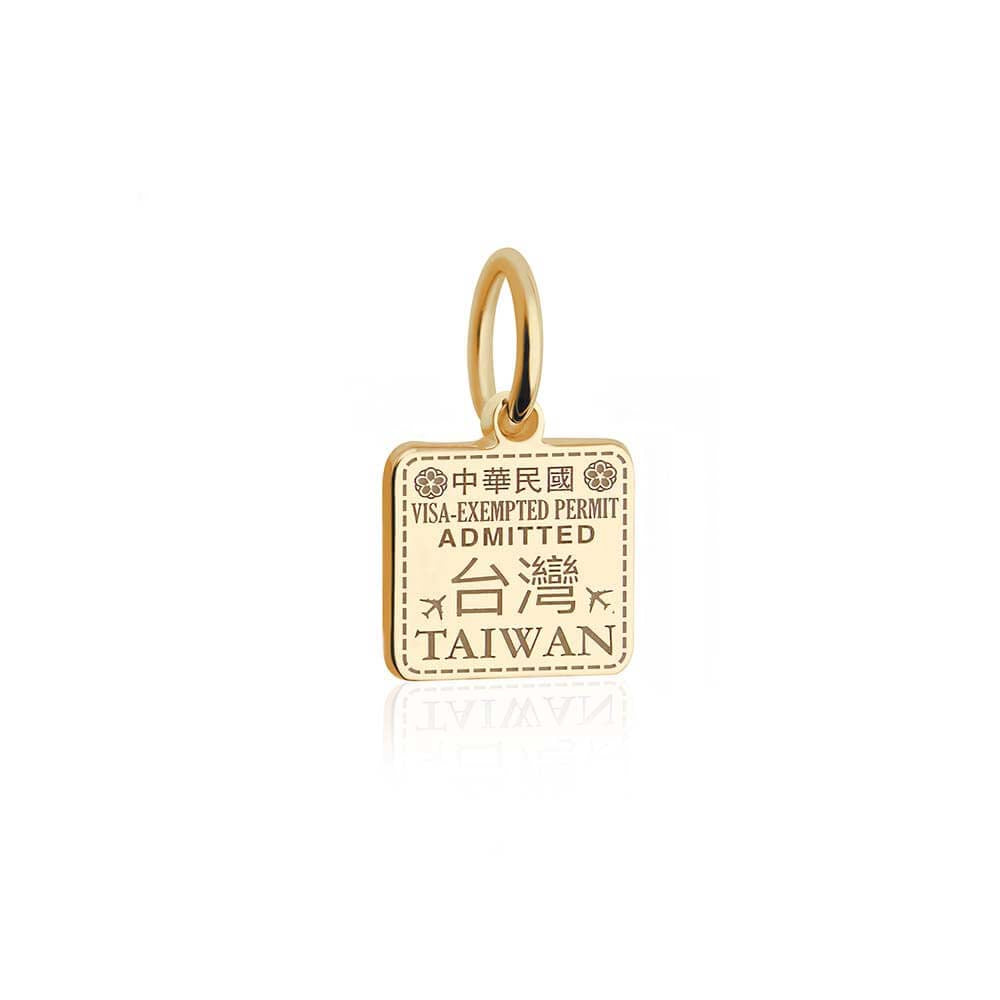 Mini Solid Gold Taiwan Passport Stamp Charm