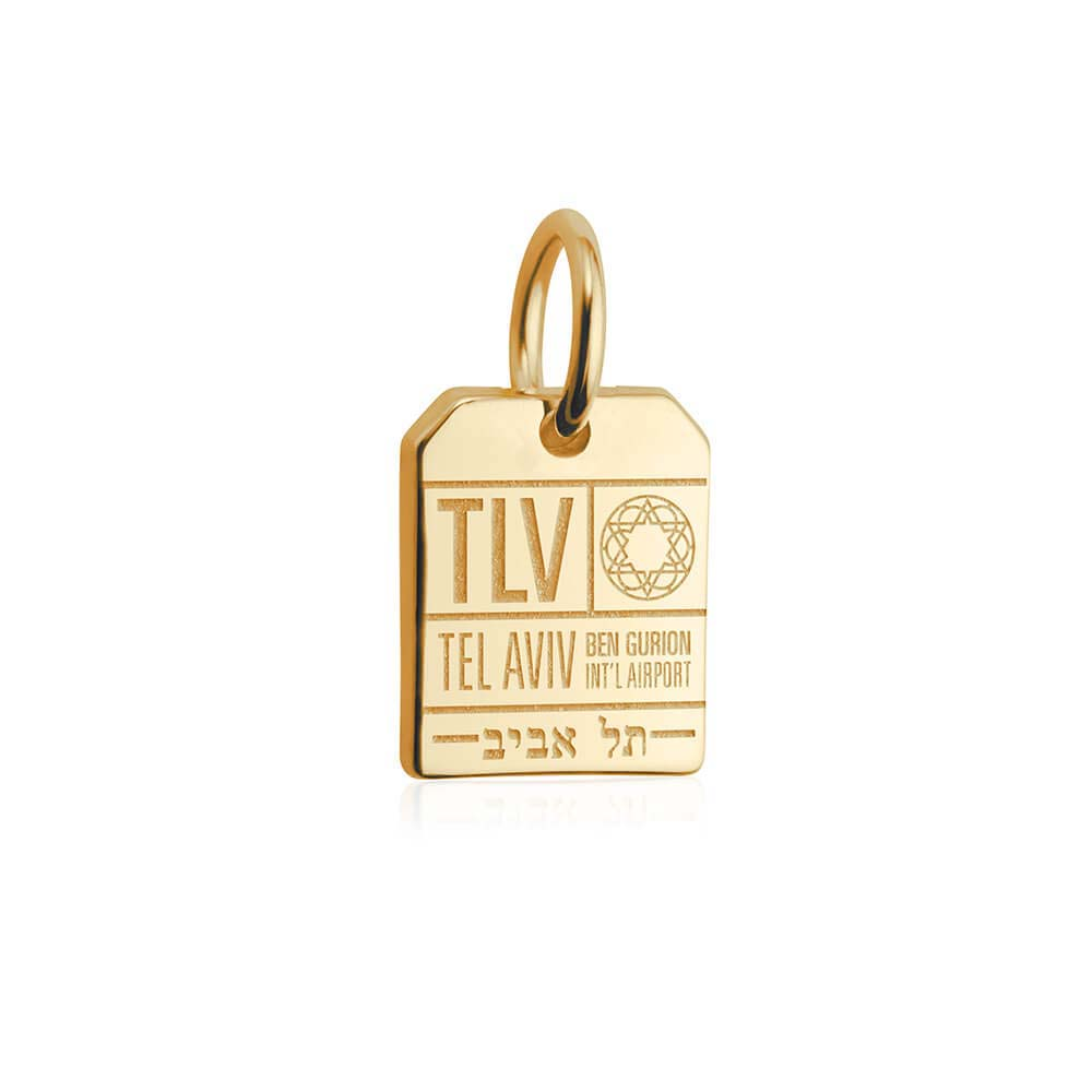 Solid Gold Mini Israel Charm, Tel Aviv Luggage Tag - JET SET CANDY