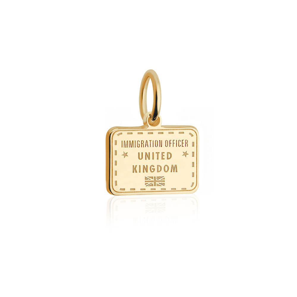 Solid Gold Mini United Kingdom Charm, Passport Stamp - JET SET CANDY
