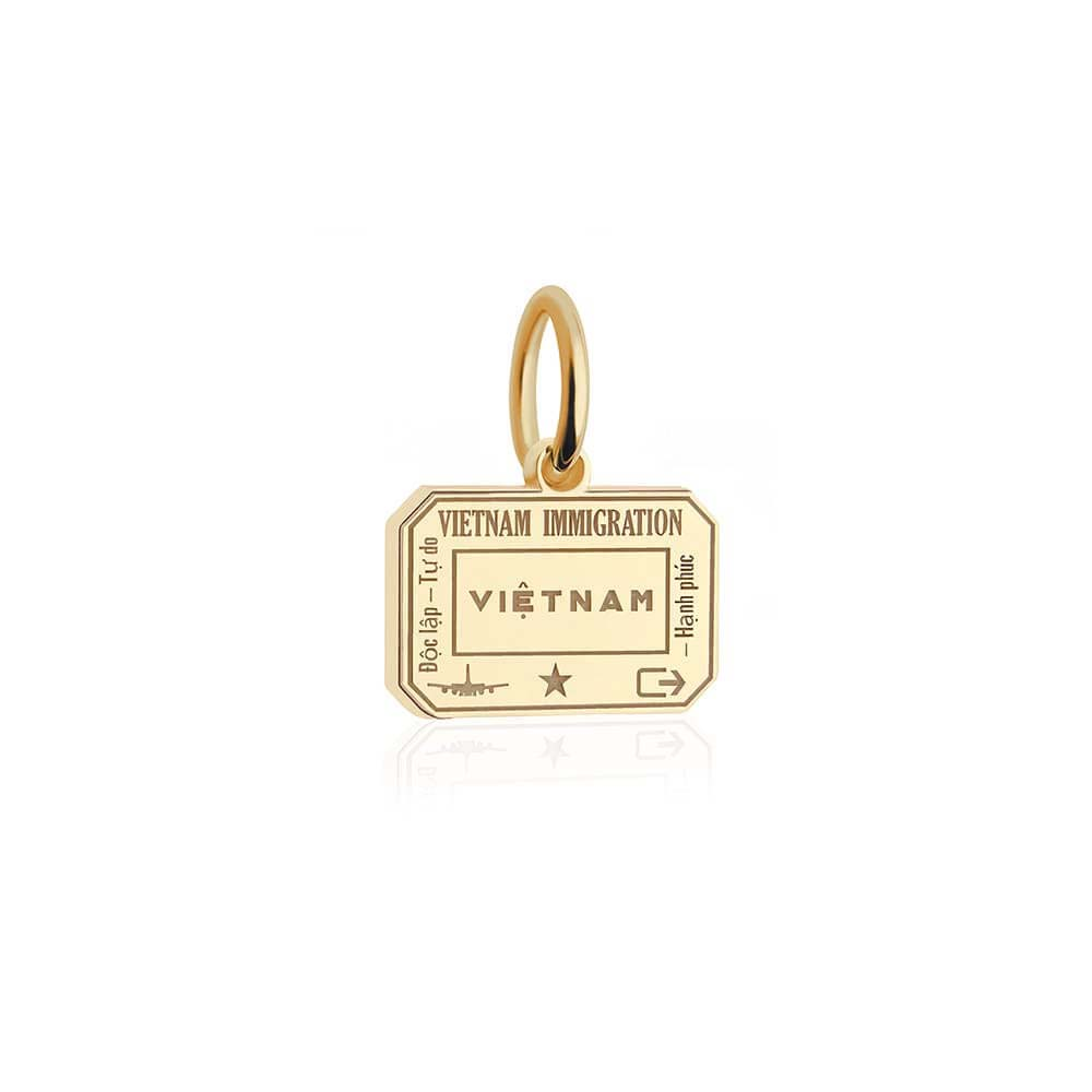 Solid Gold Mini Vietnam Passport Stamp Charm