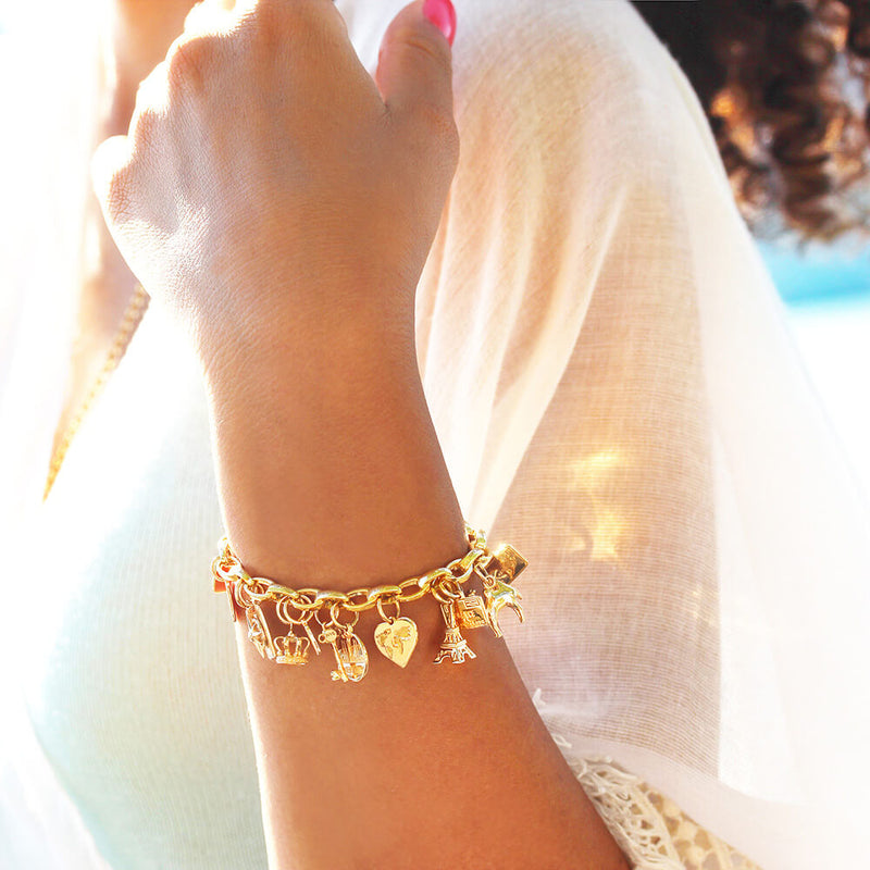 SLIM SOLID GOLD BRACELET BUNDLE WITH 12 CHARMS (SHIPS MID FEB.)
