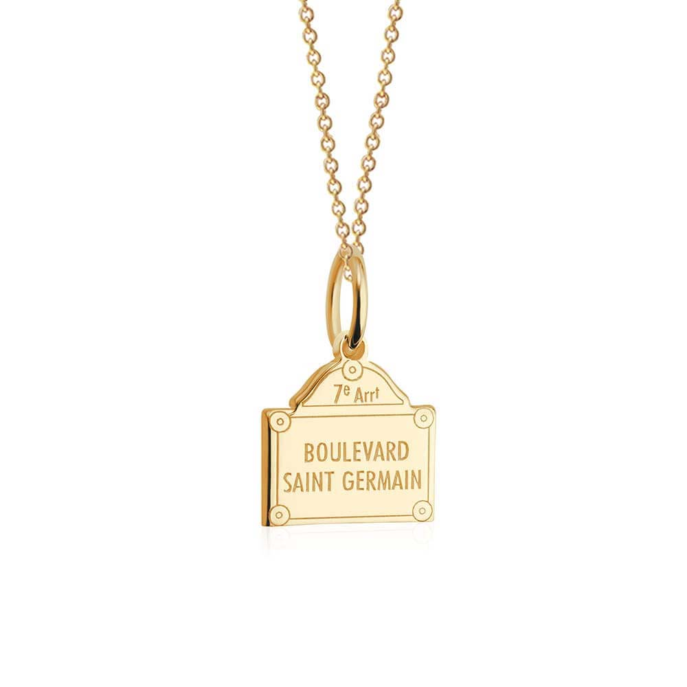 Mini Solid Gold Paris Charm, Boulevard Saint-Germain - JET SET CANDY