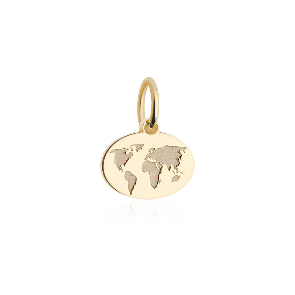 Mini Solid Gold World Map Charm - JET SET CANDY