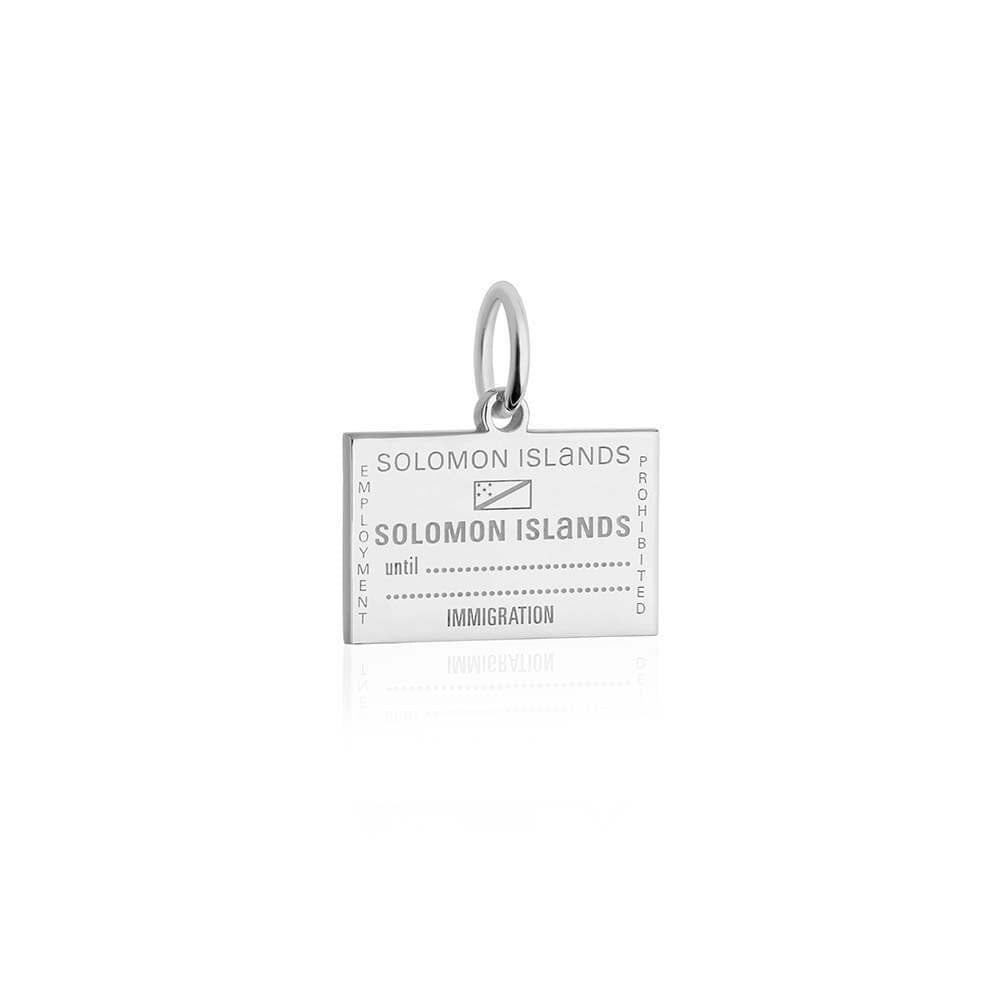 Sterling Silver Travel Charm, Solomon Islands Passport Stamp - JET SET CANDY