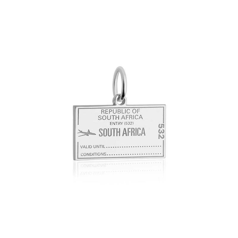 Sterling Silver Charm, South Africa Passport Stamp - JET SET CANDY