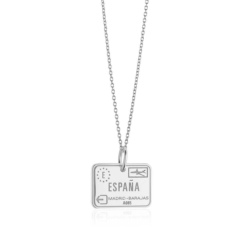 Sterling Silver Travel Charm, Spain Passport Stamp - JET SET CANDY