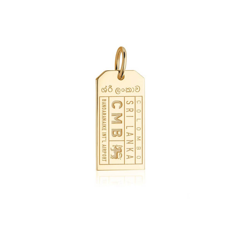 Gold Asia Charm, CMB Sri Lanka Luggage Tag - JET SET CANDY