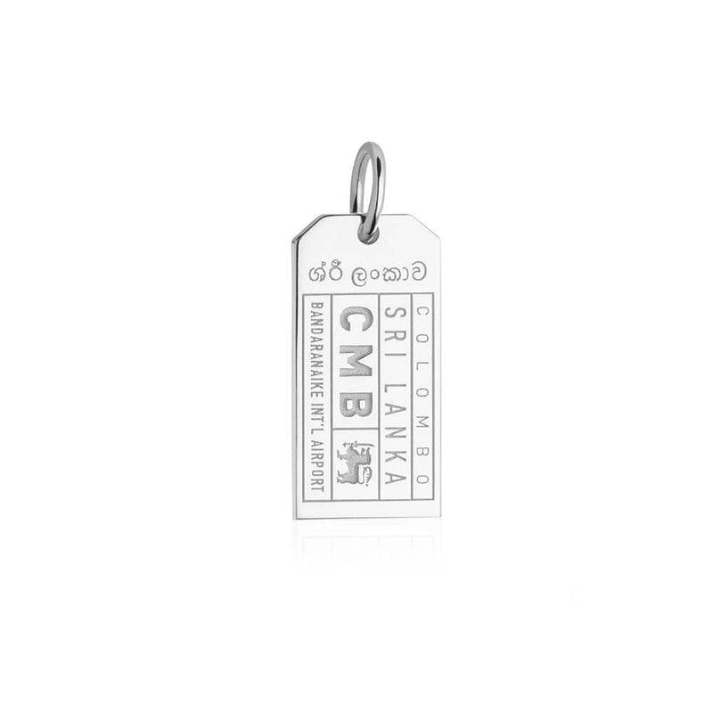 Silver Asia Charm, CMB Sri Lanka Luggage Tag - JET SET CANDY