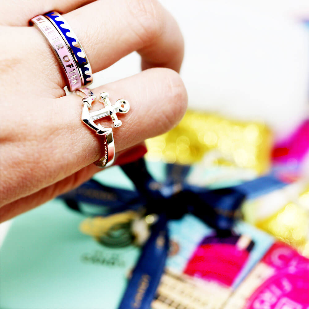 Sterling Silver Anchor Ring - JET SET CANDY