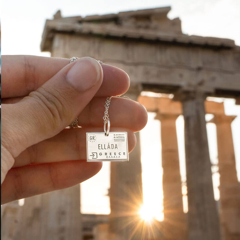 Sterling Silver Greece Travel Charm, Passport Stamp (SHIPS JUNE) - JET SET CANDY