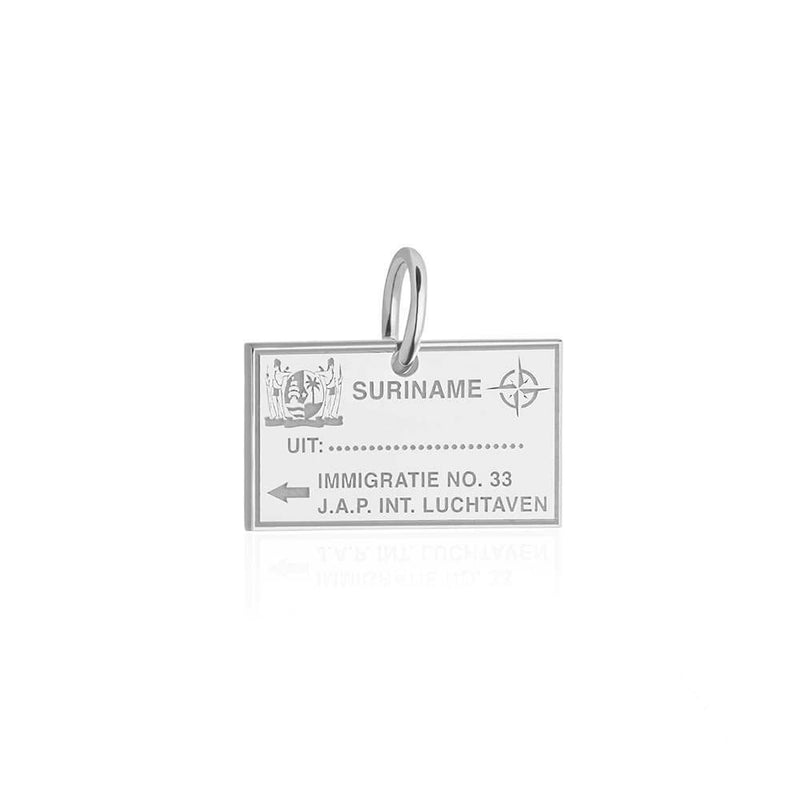 Sterling Silver Travel Charm, Suriname Passport Stamp - JET SET CANDY