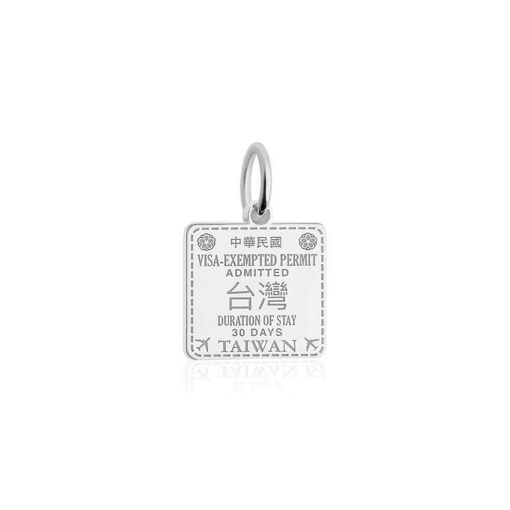 Sterling Silver Travel Charm, Taiwan Passport Stamp - JET SET CANDY