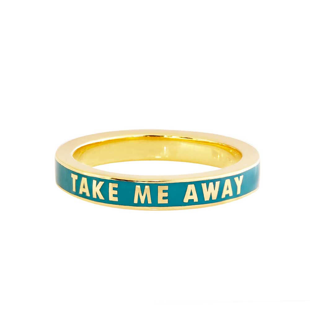 Green Enamel Gold Ring, Take Me Away - JET SET CANDY