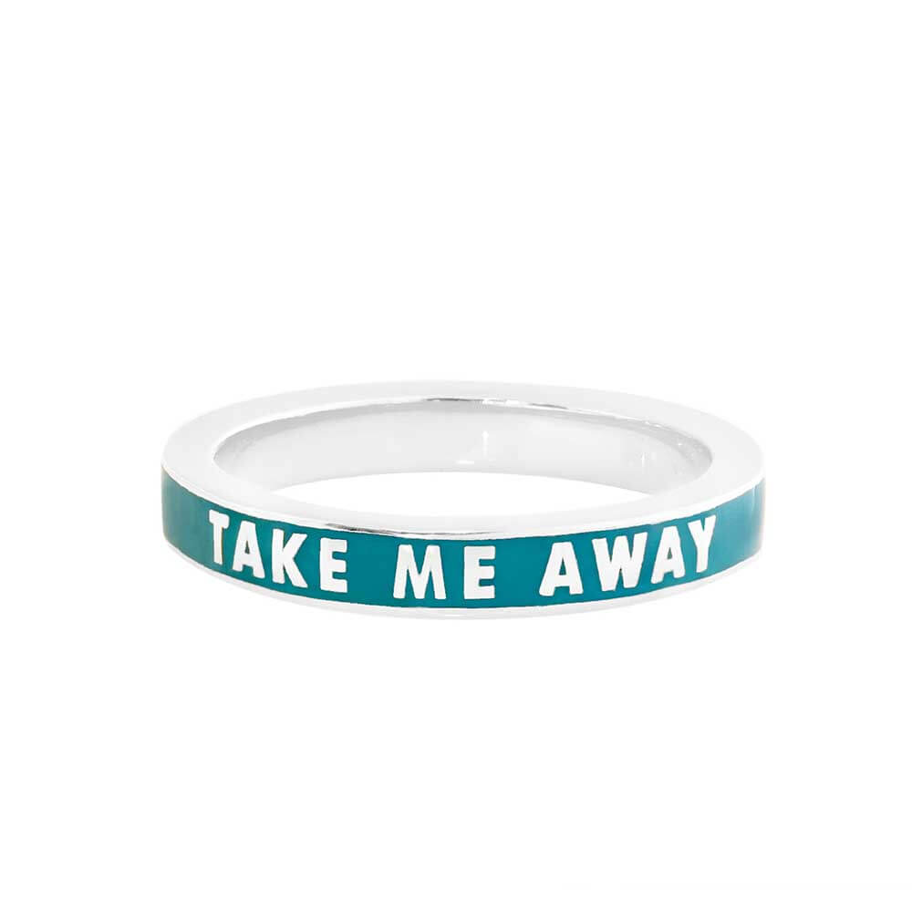 Teal Green Enamel Ring in Sterling Silver, Take Me Away - JET SET CANDY