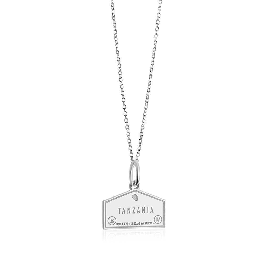 Sterling Silver Travel Charm, Tanzania Passport Stamp - JET SET CANDY