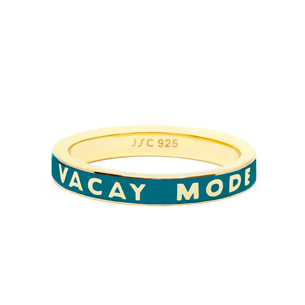 Gold Vacay Mode Ring with Teal Green Enamel