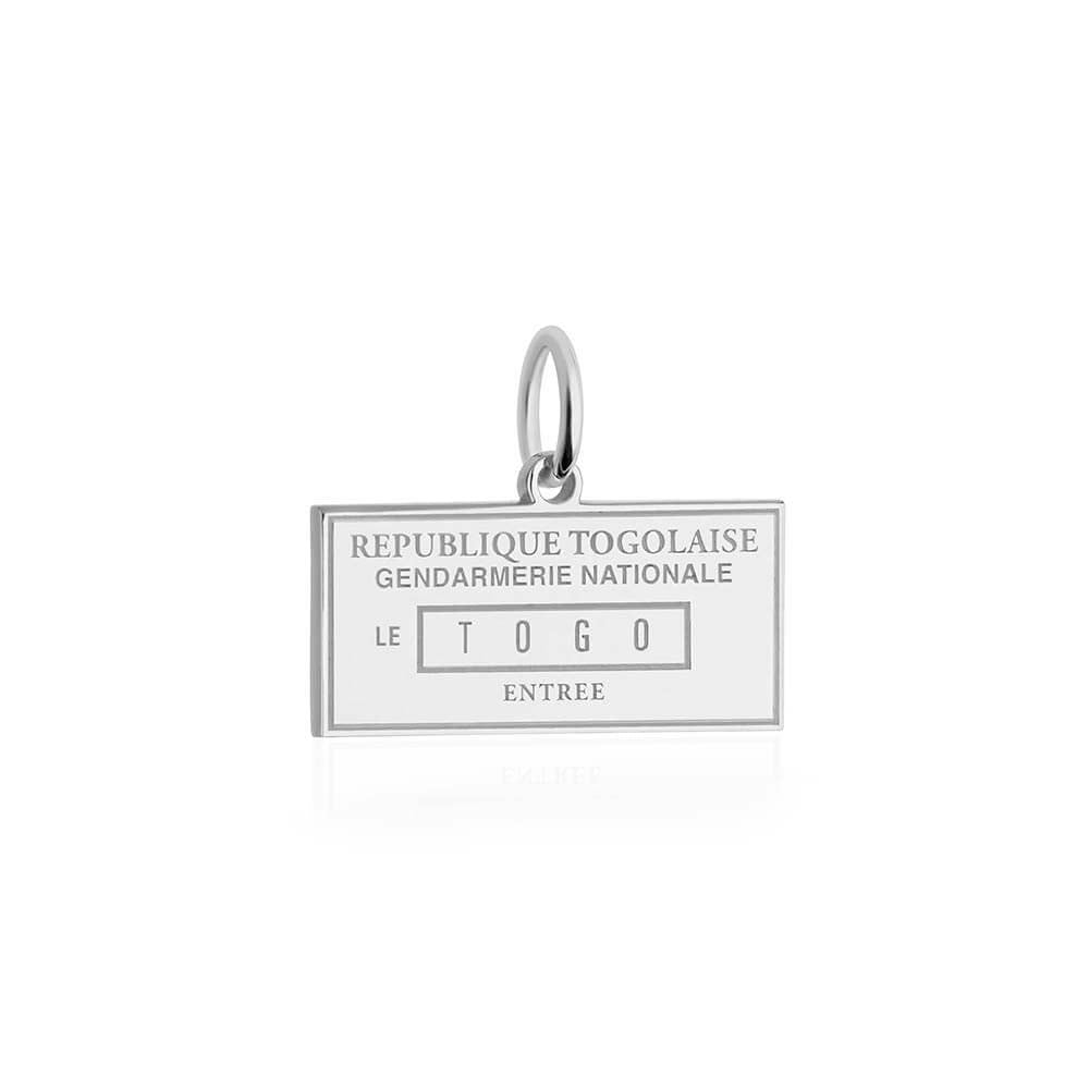 Sterling Silver Travel Charm, Togo Passport Stamp - JET SET CANDY