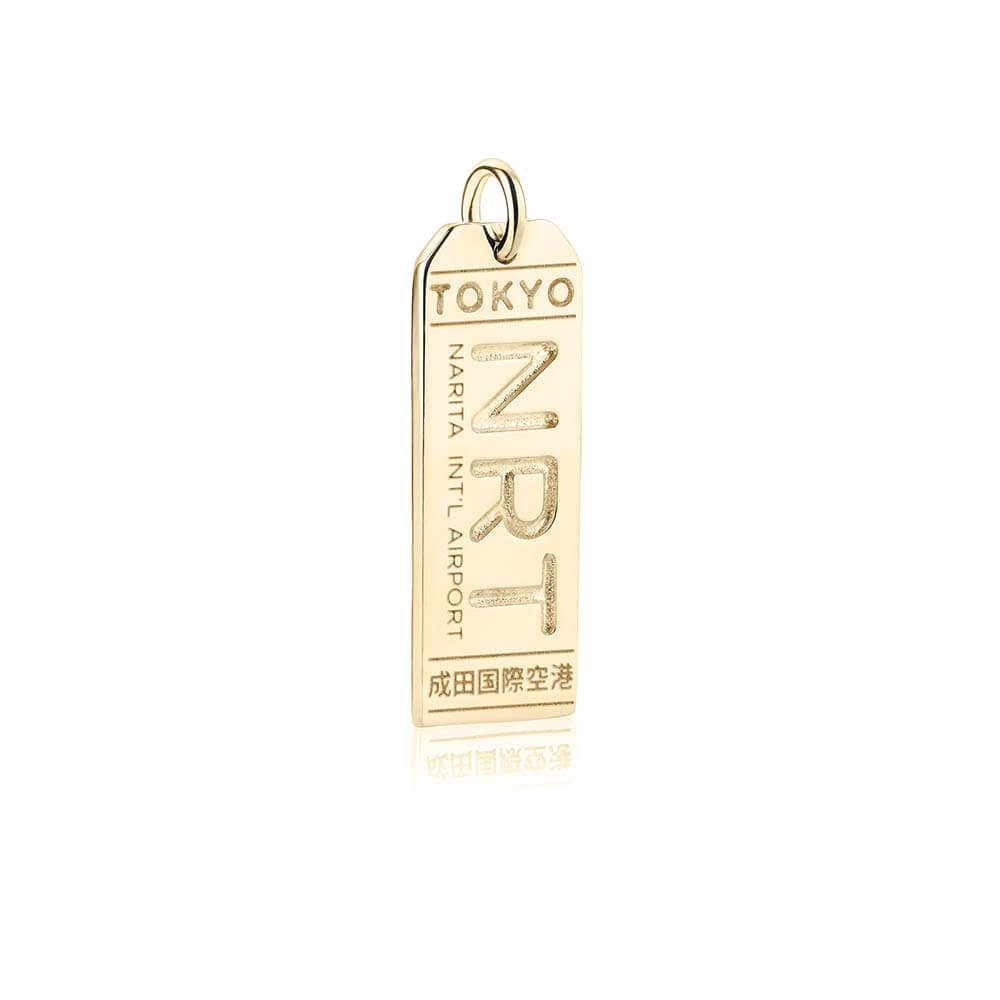 Gold Japan Charm, NRT Tokyo Luggage Tag - JET SET CANDY