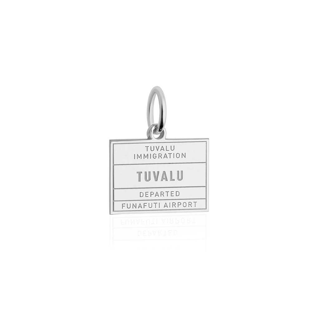 Sterling Silver Travel Charm, Tuvalu Passport Stamp - JET SET CANDY