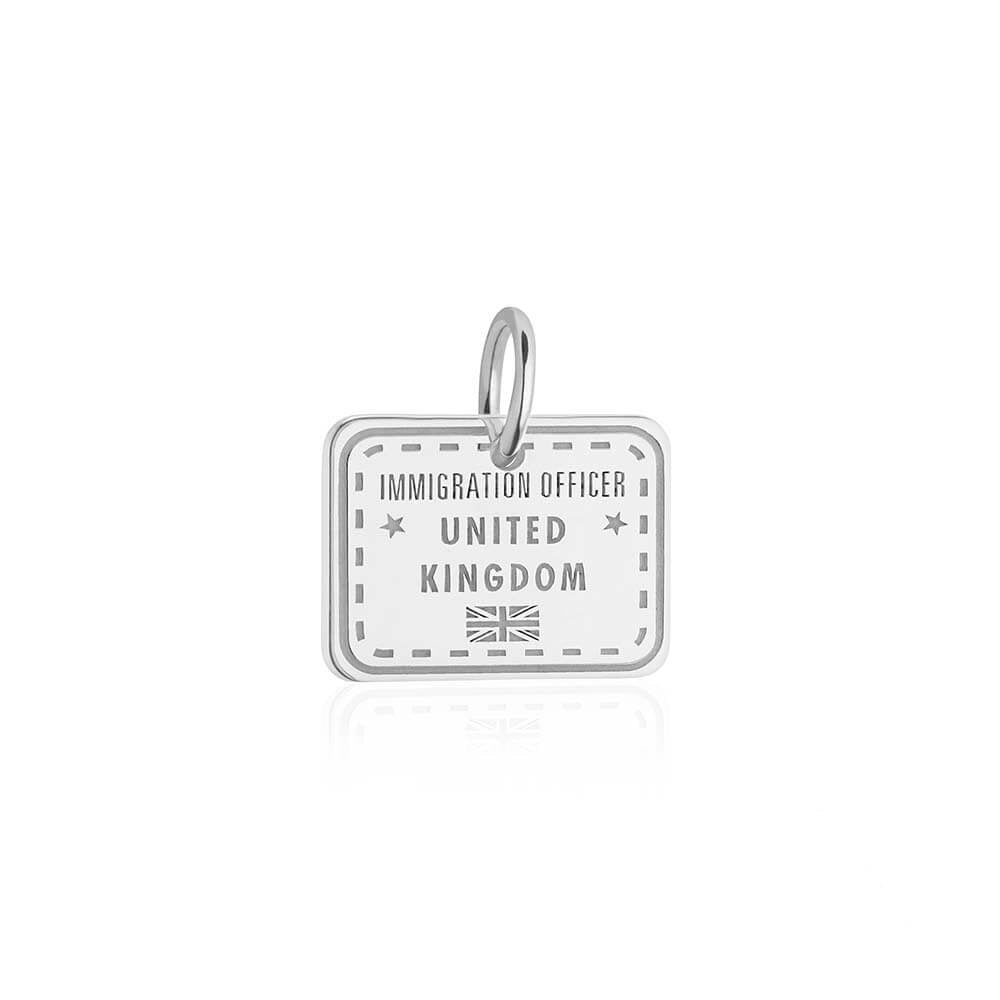 Sterling Silver Charm, United Kingdom Passport Stamp - JET SET CANDY