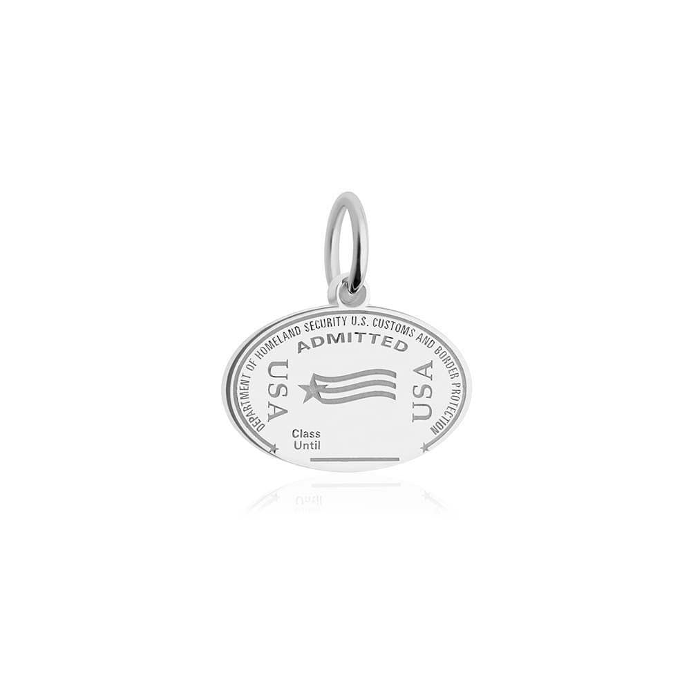 Sterling Silver USA Charm, United States Passport Stamp (SHIPS JUNE) - JET SET CANDY