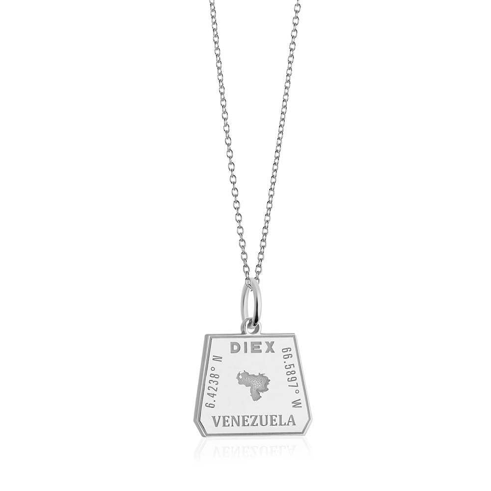 Sterling Silver Travel Charm, Venezuela Passport Stamp (SHIPS JUNE) - JET SET CANDY
