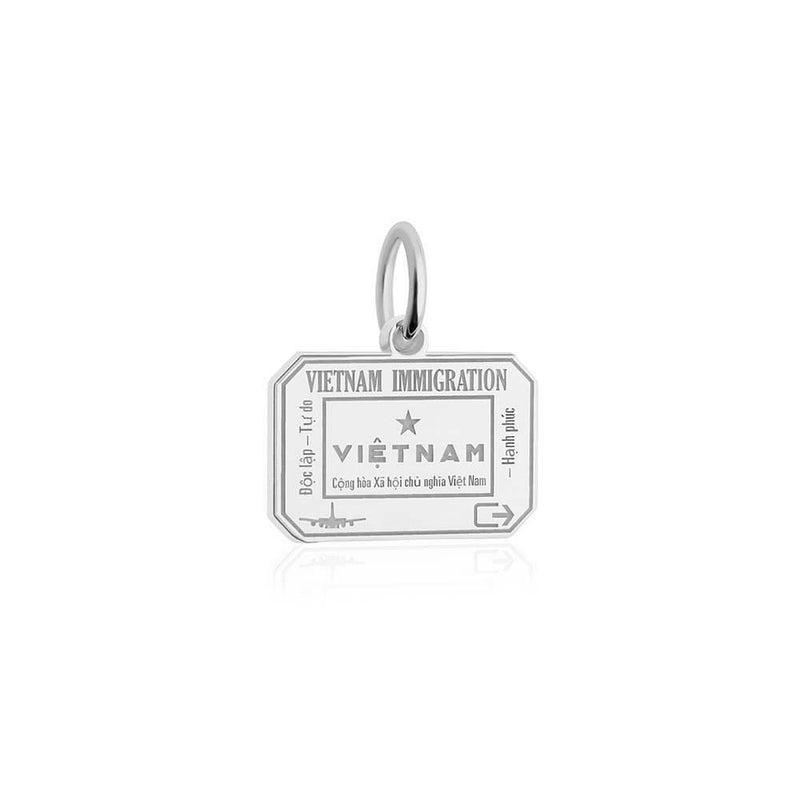 Sterling Silver Travel Charm, Vietnam Passport Stamp - JET SET CANDY