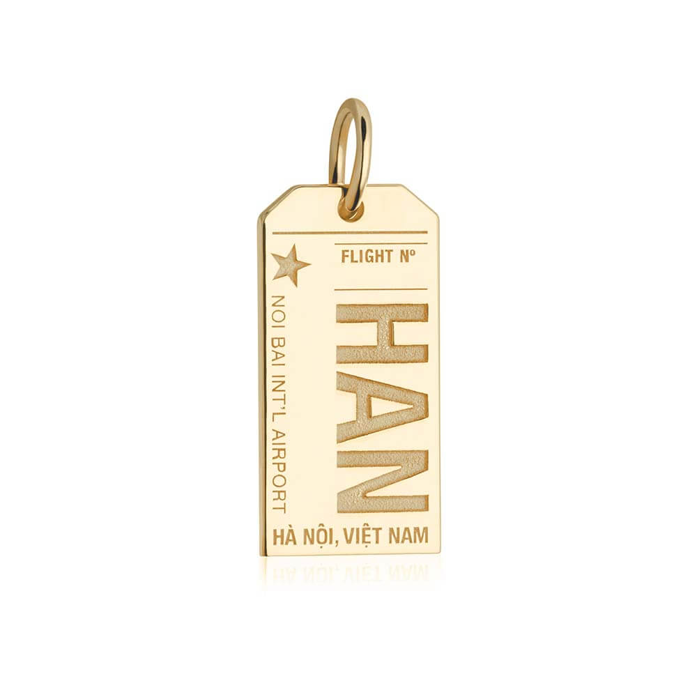 Gold Travel Charm, HAN Hanoi Luggage Tag - JET SET CANDY