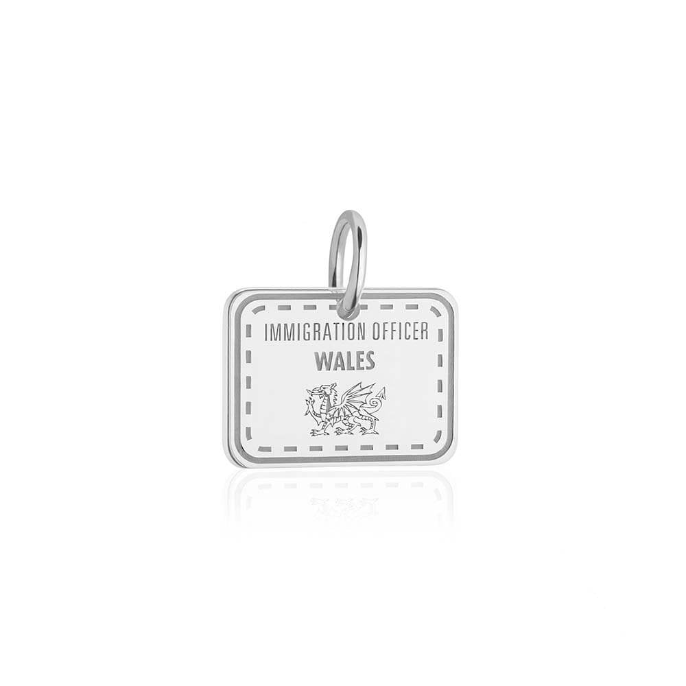 Sterling Silver Travel Charm, Wales Passport Stamp (SHIPS JUNE) - JET SET CANDY